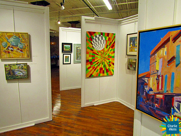 Colorful paintings at Riverviews Artspace