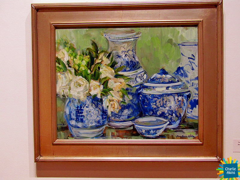 """Blue and White with Peonies"" by Lauren Bruce Wodicka."