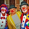 Clowns spreading happiness at Riverviews Artspace