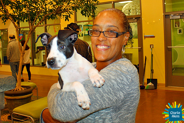 This nice lady adopted a pup at the Lynchburg Humane Society.