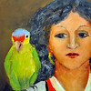 """Woman With Parrot"" oil painting by Gay Tucker"