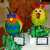 Paper Mache birds created by 6th grade students