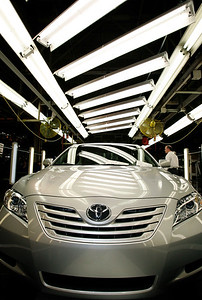 This new Toyota Camery rolls down the assembly line at the plant. This is a tour of Subaru of Indiana in Lafayette, IN on Monday morning, April 16, 2007 with Tom Easterday, an SIA Exec, who shows us how the Subaru plant has begun to produce Toyota Camry's in a joint Toyota venture. (Sam Riche / The Indianapolis Star)