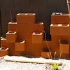 Painted cinder block succulent garden.