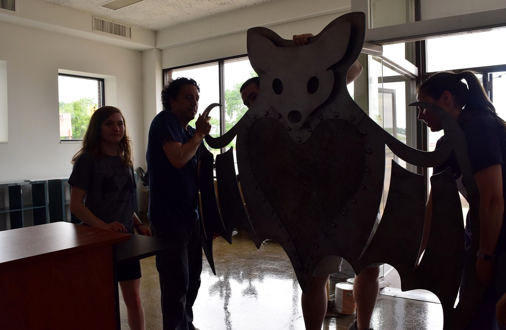 . A custom metal installation at the Organization for Bat Conservation�s new sanctuary at 75 Huron St. in downtown Pontiac on Friday, June 9, 2017.