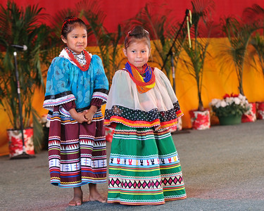 Miccosukee children in their traditional patchwork dresses.  36th Annual Miccosukee Indian Arts Festival
