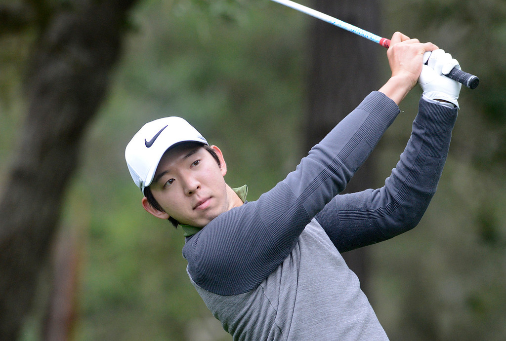 . Seung-Yul Noh tees off on the eighth hole at Spyglass Hill Golf Course during the AT&T Pebble Beach Pro-AM in Pebble Beach on Thursday February 9, 2017. (David Royal - Monterey Herald)