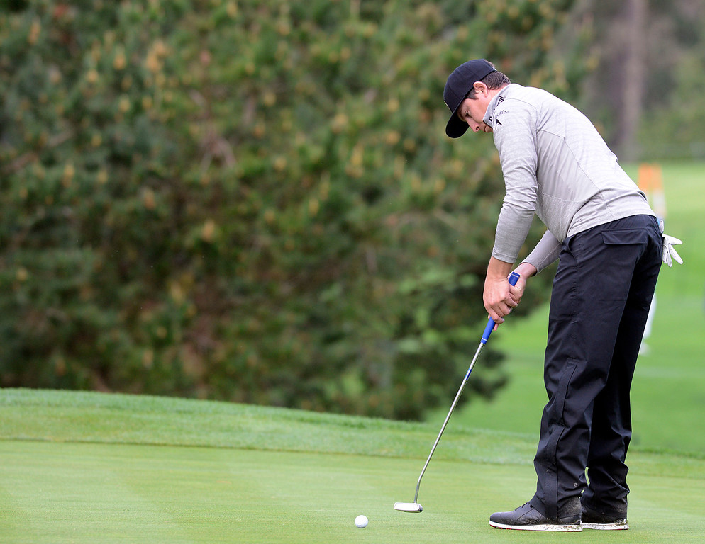 . Joel Dahmen putts on the 17th green at Spyglass Hill Golf Course during the AT&T Pebble Beach Pro-AM in Pebble Beach on Thursday February 9, 2017. (David Royal - Monterey Herald)