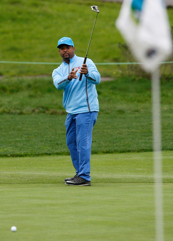 . Alfonso Ribeiro putts on the first hole at Monterey Peninsula Country Club during the first round of the AT&T Pebble Beach Pro Am on Thursday, Feb. 9, 2017.   (Vern Fisher - Monterey Herald)