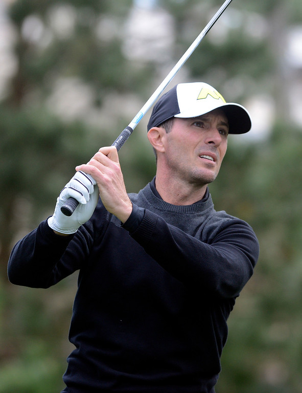 . Mike Weir tees off on the 18th hole at Spyglass Hill Golf Course during the AT&T Pebble Beach Pro-AM in Pebble Beach on Thursday February 9, 2017. (David Royal - Monterey Herald)