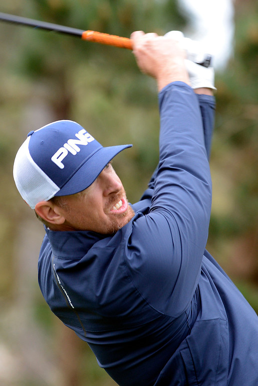 . Hunter Mahan tees off on the 18th hole at Spyglass Hill Golf Course during the AT&T Pebble Beach Pro-AM in Pebble Beach on Thursday February 9, 2017. (David Royal - Monterey Herald)