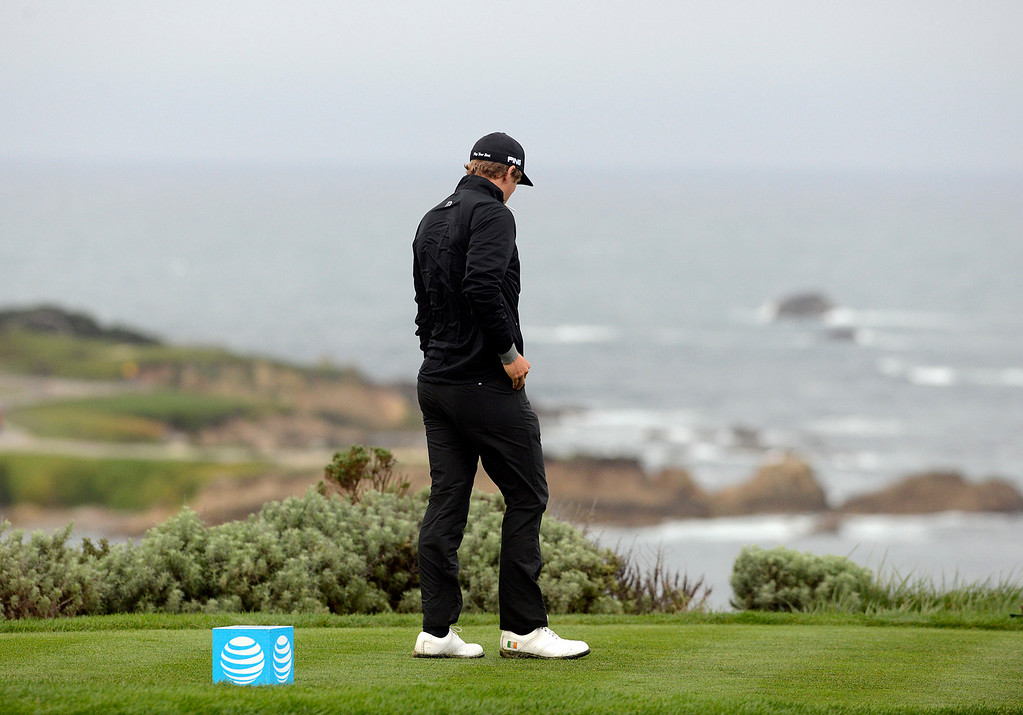 . Seamus Power looks out at the ocean before teeing off from the fourth tee at Spyglass Hill Golf Course during the AT&T Pebble Beach Pro-AM in Pebble Beach on Thursday February 9, 2017. (David Royal - Monterey Herald)
