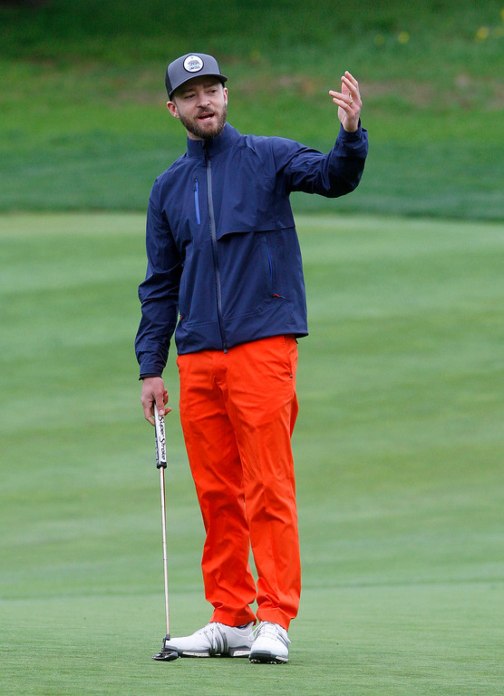 . Justin Timberlake reacts to a missed birdie putt on the third hole at Monterey Peninsula Country Club during the first round of the AT&T Pebble Beach Pro Am on Thursday, Feb. 9, 2017.   (Vern Fisher - Monterey Herald)
