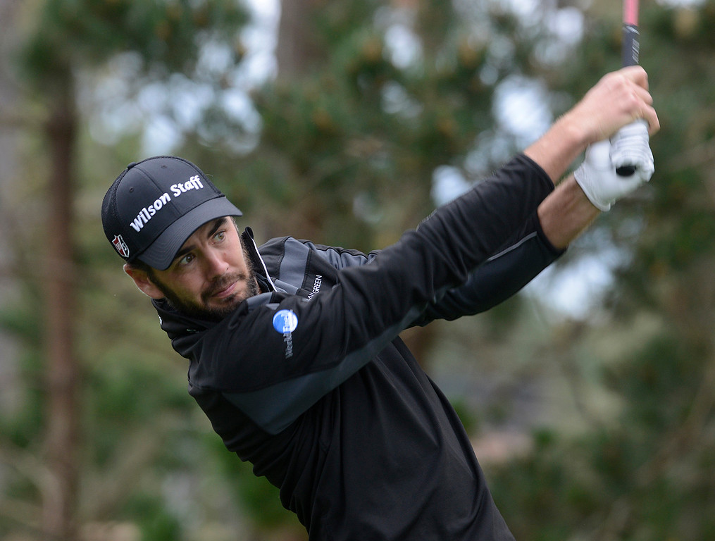 . Troy Merritt tees off on the 18th hole at Spyglass Hill Golf Course during the AT&T Pebble Beach Pro-AM in Pebble Beach on Thursday February 9, 2017. (David Royal - Monterey Herald)