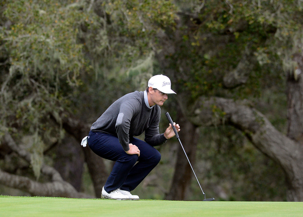 . Rick Lamb lines up his putt on the seventh hole at Spyglass Hill Golf Course during the AT&T Pebble Beach Pro-AM in Pebble Beach on Thursday February 9, 2017. (David Royal - Monterey Herald)