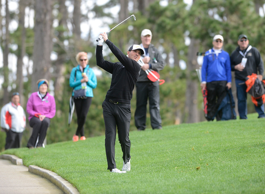 . Mike Weir hits his ball from off course on the 18th fairway at Spyglass Hill Golf Course during the AT&T Pebble Beach Pro-AM in Pebble Beach on Thursday February 9, 2017. (David Royal - Monterey Herald)