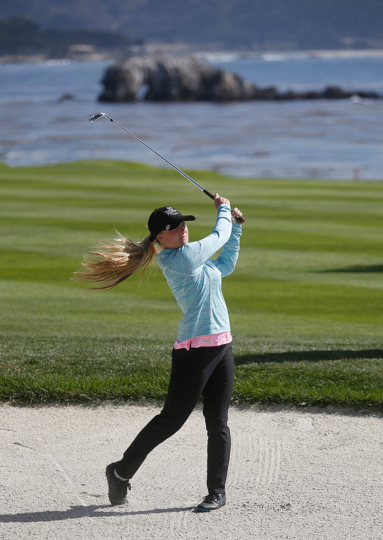 . Claire Oetinger junior player from The First Tee of Fresno hits her shot on the 18th fairway during the Coca-Cola Champions Challenge at Pebble Beach Golf Links  on Thursday September 21, 2017. Teams competed for a $40,000 charity purse playing a modified Scotch, alternate-shot format on holes 1, 2, 3, 17 and 18. (David Royal/Herald Correspondent)