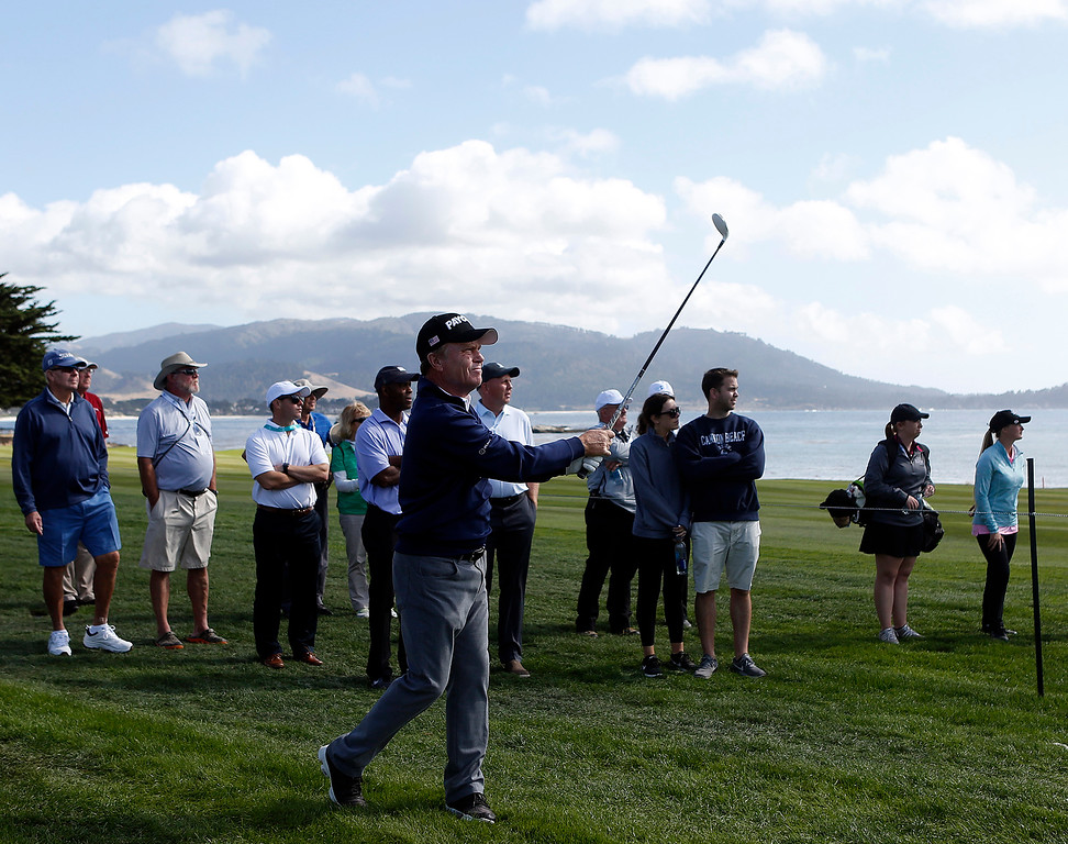 . PGA player  of Jeff Sulman hits his ball back on course on the 18th during The First Tee during the Coca-Cola Champions Challenge at Pebble Beach Golf Links  on Thursday September 21, 2017. Teams competed for a $40,000 charity purse playing a modified Scotch, alternate-shot format on holes 1, 2, 3, 17 and 18. (David Royal/Herald Correspondent)