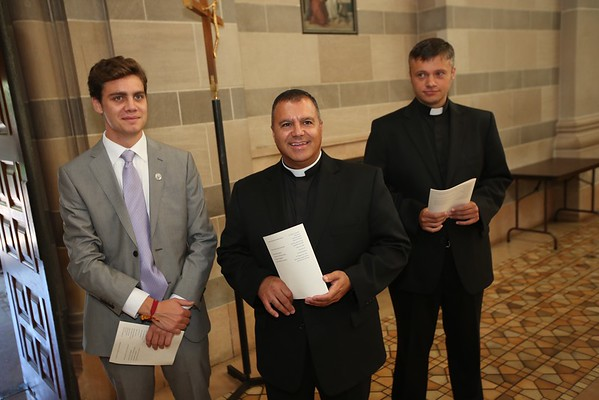 Jesuits Michael Bartlett,  José Camacho, Pierce Gibson, IV, David Inczauskis, James Kennedy, Thomas O'Donnell, IV, Christopher Williams, Jack McLinden, and James McGivney pronounced first vows in the Society of Jesus on Saturday, August 14, 2016, at Saint Thomas More Catholic Community in St. Paul, Minn.