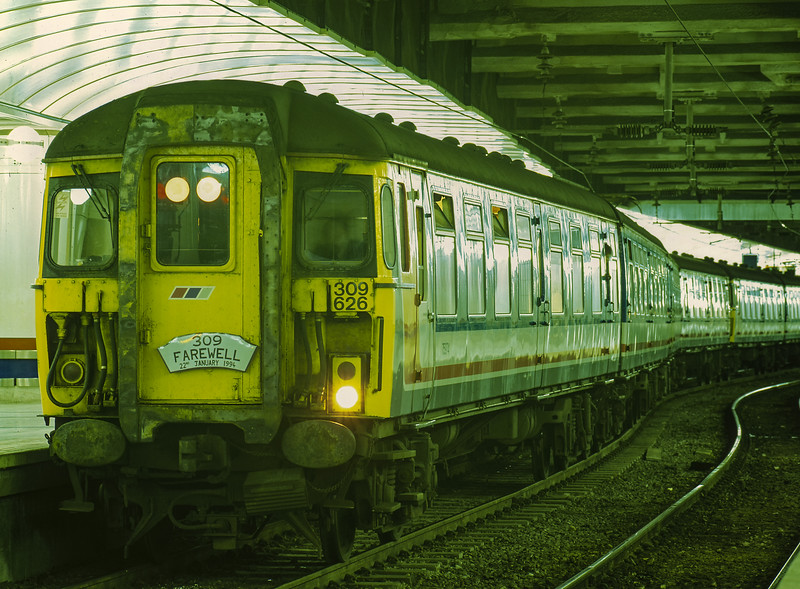309626 at Liverpool Street with the 18:00 Liverpool Street - Clacton, on 22nd January 1994. This was the final 309 working from Liverpool Street. 309613 and 309616 complete the train.