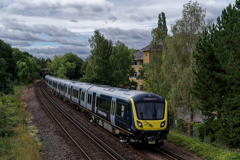 The first 701 unit working up the Pompey Direct, as part of the test program based at Eastleigh. 701005 aproaching Shalford Junction with 5Q31, the 09:45 Portsmouth & Southsea - Guildford, on 24th August 2020.<br /> <br /> 701005