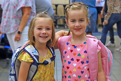 "Best friends Olivia Matunas (left) and Julianne Haines (right) pose for a photograph as Spring Lake Heights Elementary school hosted their ""Boohoo and Yahoo"" kindergarten breakfast for new students and their parents on the first day of school on Wednesday Sept.4, 2019  (MARK R. SULLIVAN THE COAST STAR)"