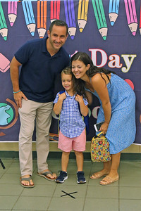 "Bob and Kelli Fahey pose with their son Connor as Spring Lake Heights Elementary school hosted their ""Boohoo and Yahoo"" kindergarten breakfast for new students and their parents on the first day of school on Wednesday Sept.4, 2019  (MARK R. SULLIVAN THE COAST STAR)"