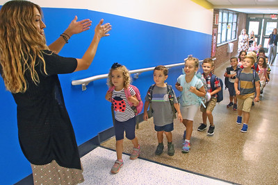 "Students line up to head to their classrooms as Spring Lake Heights Elementary school hosted their ""Boohoo and Yahoo"" kindergarten breakfast for new students and their parents on the first day of school on Wednesday Sept.4, 2019  (MARK R. SULLIVAN THE COAST STAR)"