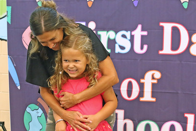 "Tara Goldstein (left) shares a moment with her daughter Mollie as Spring Lake Heights Elementary school hosted their ""Boohoo and Yahoo"" kindergarten breakfast for new students and their parents on the first day of school on Wednesday Sept.4, 2019  (MARK R. SULLIVAN THE COAST STAR)"