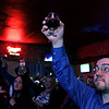 The River Styx Brewing Company held a first keg opening at Partners Pub in Fitchburg on Thursday night for their stout they call Croneus Lord of Time. Michael Dalton of Leominster holds up the beer for a celebratory first toast. SENTINEL & ENTERPRISE/JOHN LOVE