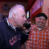 The River Styx Brewing Company held a first keg opening at Partners Pub in Fitchburg on Thursday night. Trying one of the first stouts poured is Joel Kaddy Fitchburg Ward 3 <br /> Councilor. With him, laughing, is President of Beers for Good Trevor Bonilla. SENTINEL & ENTERPRISE/JOHN LOVE