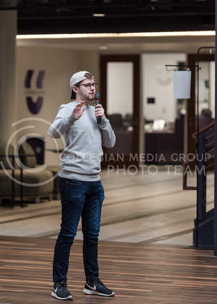 With an unwavering voice, Kansas State Junior Mason Swenson who studies Public Relations defends his stance during the debate. At the K-State Student Union on Thursday, students involved with On the Spot