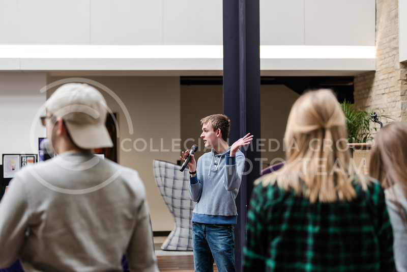 At the K-State Student Union on Thursday, students involved in the On the Spot improv group argue passionately about things that do not matter. (Olivia Bergmeier | Collegian Media Group)