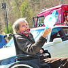 KRISTOPHER RADDER — BRATTLEBORO REFORMER<br /> Beverly Cable, a resident of Valley Cares, in Townshend, Vt., smiles as a parade made up of first responders goes by to raise the spirits of those staying there during the COVID-19 pandemic on Tuesday, April 28, 2020.