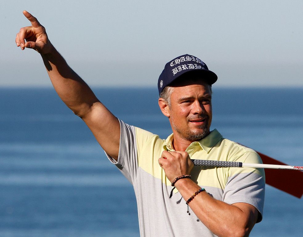 . Actor Josh Duhamel yells fore right on the fourth hole at Spyglass Hill Golf Course during the first round of the AT&T Pebble Beach Pro-Am on Thursday, Feb. 8, 2018.  (Vern Fisher - Monterey Herald)