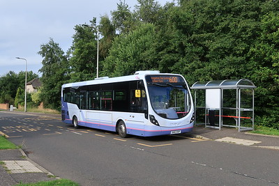 47454 in Kirkliston on the curtailed 600 service at the temporary terminus on Kirklands Park Street.  Presumably u-turns at the roundabout on the B9080