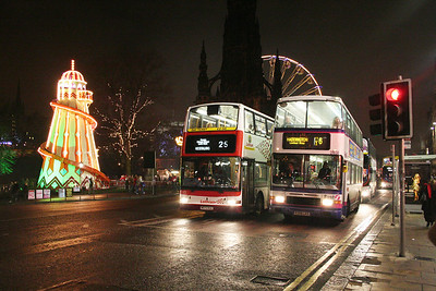 572 and 31638 with a very festive backdrop.   20th December 2007