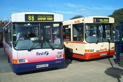 47304 alongside 47305 - Fareham (bus station) - July 2003