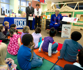 13-0549<br /> Centennial Event for GSU<br /> Governor's wife Sandra Deal visits and reads book to CDC at GSU and then attends a lunch with the COE.