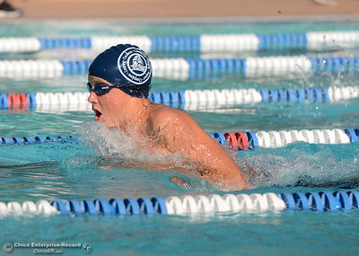 Pleasant Valley's Hunter McGuire swims in the 200-meter medley as Chico and Pleasant Valley compete Wednesday in the Fish Bowl at In Motion Fitness in Chico. (Will Denner -- Enterprise-Record)