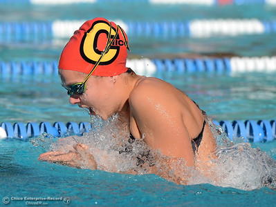 Chico's Amy Harter swims the breaststroke in the 200-meter medley relay as Chico and Pleasant Valley compete Wednesday in the Fish Bowl at In Motion Fitness in Chico. Harter and her relay team won the race with a time of 1:58.25. (Will Denner -- Enterprise-Record)