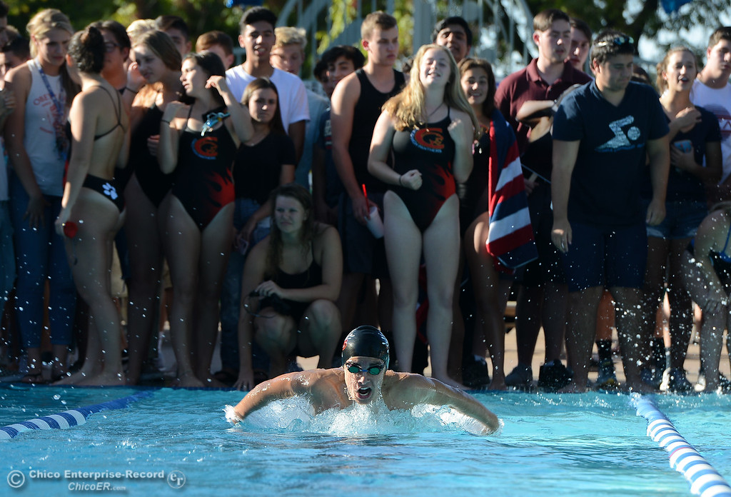. Chico High\'s Aaron Hull leads the boys 100 butterfly during the annual Fish Bowl dual meet between Chico and Pleasant Valley swim teams Wednesday October 4, 2017 at In Motion Fitness in Chico, California. (Emily Bertolino -- Enterprise-Record)