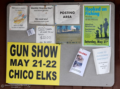 A bulletin board advertises events including the Hooked on Fishing Not on Drugs event this Saturday.   More than 7,000 lbs. of catfish have been planted in Horseshoe Lake for the 29th annual Hooked on Fishing Not on Drugs event which starts Saturday at 7:00 a.m. at Upper Bidwell Park in Chico, Calif.  (Bill Husa -- Enterprise-Record)