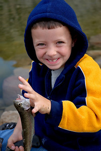 Anthony Jones (6) fished at the Gigliotti Pond on 9-22-07.  By Brent Stettler, Utah Division of Wildlife Resources