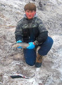 Zach Ewing (11) of Springville holds a tiger he iced at Scofield Reservoir on 3-28-08. Photo by Casey Mickelsen, Utah Division of Wildlife Resources