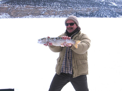 Paul Birdsey holds two-pound Splake caught at Joes Valley Reservoir.