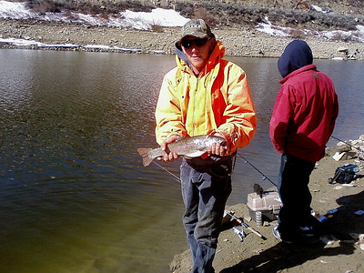 This nice rainbow trout was caught at Scofield Reservoir.  Photo by Randall Stilson, Utah Division of Wildlife Resources.