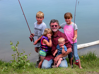 Orangeville residents David Robertson and his grandchildren as they fished Grassy Lake over the July 4, 2008 holiday weekend.