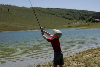 Luke Christensen, 5, of Salem is fishing at Miller Flat Reservoir on 7-4-07.  Photo by Brent Stettler, Utah Division of Wildlife Resources.