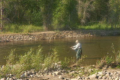 Fly fishing on a river